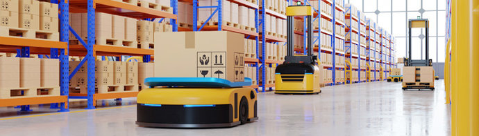 Automated Guided Vehicles (AGVs) in a Warehouse